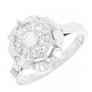 Bague fleur diamants 0,11 carat en or blanc