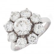 Bague marguerite vintage diamants 3,6 carats en or blanc