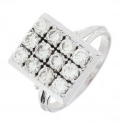 Bague rectangulaire vintage pavage de diamants 1,2 carat en or blanc