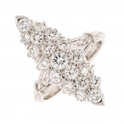 Bague marquise vintage diamants 1,25 carat en or blanc