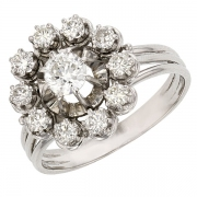 Bague marguerite vintage diamants 1,03 carat en or blanc et platine