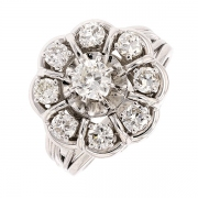 Bague marguerite diamants 0,99 carat en or blanc