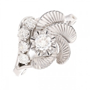 Bague florale vintage diamants 0.51 carat en or blanc