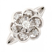 Bague fleur vintage diamants 0.30 carat en or blanc