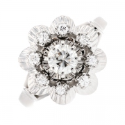 Bague fleur diamants 0.62 carat en or blanc