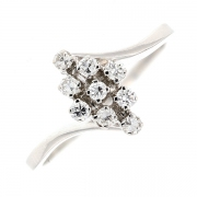 Bague marquise diamants 0.18 carat en or blanc