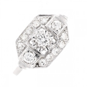 Bague vintage diamants 0.38 carat en or blanc