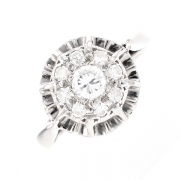 Bague ronde diamants 0.38 carat en or blanc