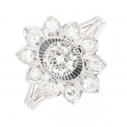 Bague fleur diamants 0.85 carat en or blanc