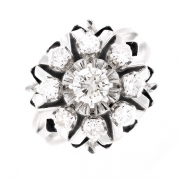 Bague vintage diamants 0.57 carat en or blanc