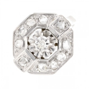 Bague vintage diamants 0.10 carat en or blanc
