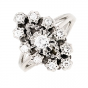 Bague marquise diamants 0.61 carat en or blanc