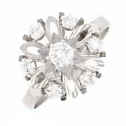 Bague vintage diamants 0.71 carat en or blanc