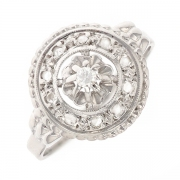 Bague ronde diamants 0.04 carat en or blanc