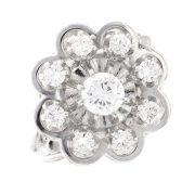 Bague fleur vintage diamants 0.79 carat en or blanc