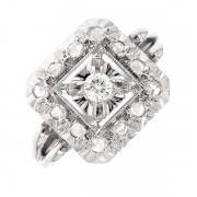 Bague vintage diamants en or blanc 2.71 grs
