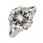 Bague vintage diamants 0.05 carat en or blanc