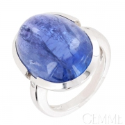 Bague Or Blanc Tanzanite Cabochon