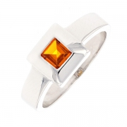 Bague carrée citrine en or blanc