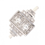 Bague ART DECO diamants 0.10 carat en or blanc