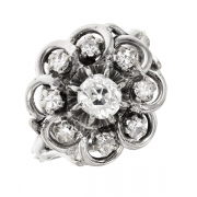 Bague ancienne diamants 0.59 carat en or blanc
