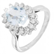 Bague marguerite aigue-marine et diamants 0,24 carat en or blanc - Occasion