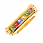 Bague signée PH COMOY saphirs 0.60 carat et diamants 0.12 carat en or jaune