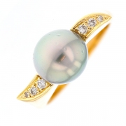 Bague perle de Tahiti et diamants en or jaune