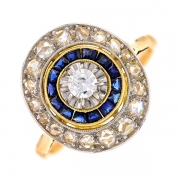 Bague ancienne diamants 0.35 carat et saphirs 0.20 carat en or bicolore