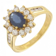 Bague fleur saphir 1 carat et diamants 0,60 carat en or jaune
