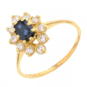 Bague marguerite diamants 0,30 carat et saphir 0,49 carat en or jaune