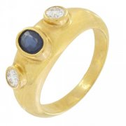 Bague diamants 0,20 carat et saphir en or jaune