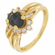 Bague fleur diamants 0,18 carat et saphir en or jaune