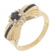 Bague diamants 0,18 carat et saphirs en or jaune