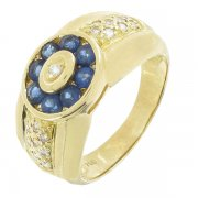 Bague saphirs et diamants en or jaune