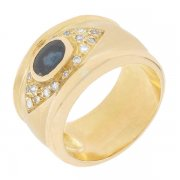 Bague diamants 0,18 carat et saphir en or jaune