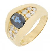 Bague jonc saphir et diamants 0,15 carat en or jaune