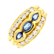 Bague saphirs 0.40 carat et diamants 0.56 carat en or jaune