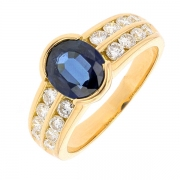 Bague saphir 1,44 carat et diamants 0,54 carat en or jaune