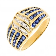Bague saphirs 0,40 carat et diamants 0,35 carat en or jaune