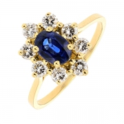 Bague marguerite saphir 0,94 carat et diamants 0,72 carat en or jaune