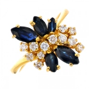 Bague saphirs et diamants 0..34 carat en or jaune