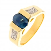 Bague saphir 1.39 carat et diamants en or bicolore