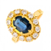 Bague saphir 1.15 carat et diamants 0.60 carat en or jaune