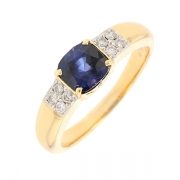 Bague saphir 1.80 carat et diamants 0.16 carat e or jaune