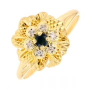 Bague fleur saphir et diamants en or jaune