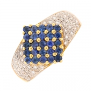 Bague saphirs 0.25 carat et diamants 0.42 carat en or jaune