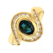 Bague saphir 0.82 carat et diamants 0.33 carat en or jaune