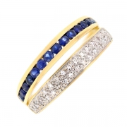 Bague saphirs 0.56 carat et diamants 0.15 carat en or jaune