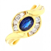 Bague saphir 0.65 carat et diamants 0.32 carat en or jaune